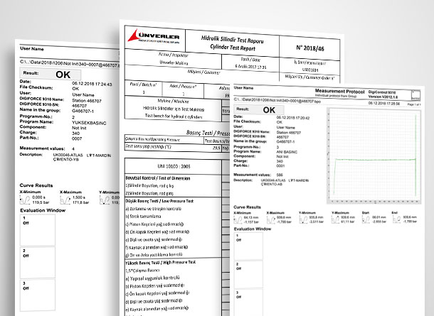 Test Raporları, Test Reports-Ünverler Makine, Machinery